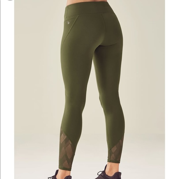 3a3a6d3e70ecb Fabletics Pants | Olive Green Demi Lovato Mesh Leggings | Poshmark